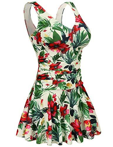 AONTUS Women's Plus Size Removable Padding Swimsuits Tummy Control One Piece Hawaiin Swim Dresses Bathing Suit