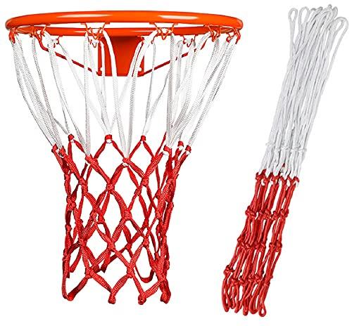 Lvjkes Rete da canestro da Basket, Canestro da Pallacanestro Rete, 2 reti da canestro da Basket Adatte a Tutte Le Condizioni atmosferiche per Supporti da Basket Interni o Esterni (Bianco + Rosso)