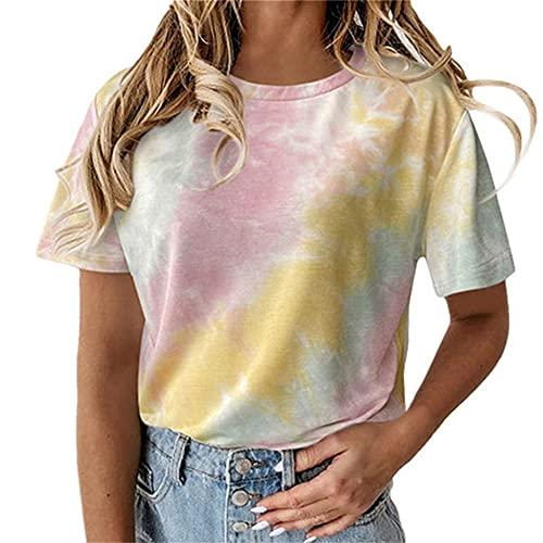 PRJN Tops de Verano para Mujer Blusa básica Camiseta de teñido Anudado para Mujer Camisetas básicas con Cuello en O Camisetas de Manga Larga/Corta Tops Casuales Blusa Camiseta de Mujer Camisetas