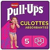 Huggies Pull-Ups, Culottes absorbantes Explorers pour fille, Taille 1,5-3 ans (12-17 kg), 34 culottes, Avec indicateur d'humidité,