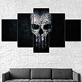 YFTNIPL Impresión 5 Piezas Lienzo La Película De Punisher Skull Casa Sala Oficina Regalo Decoración Mural HD Imágenes Póster 5 Piezas Artística Cuadros 5 Piezas De Pared Fotos Cuadros En Lienzo
