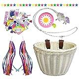 Heyworld Kids Bike Basket, Wicker Basket, Handlebar Bicycle Basket for Girls with Bike Bell, Streamers, Stickers Bike Decoration Accessories Set (Natural Set 1)