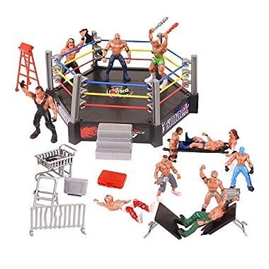 All-inclusive 32-teiliges Miniatur-Wrestling-Spielset für Kinder Kinder Mehrere realistische Accessoires umfassen Tisch, Mülleimer, Barrikade, Trage, Käfige, Leiter, Stühle, Aktentasche, Feuerlöscher, Karren, Gürtel, 4-seitigen Ring & 6-seitigen Ring...