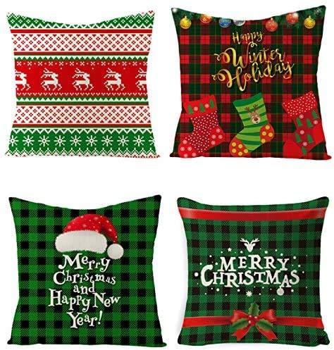 HIQE-FL 4 Piezas Fundas Navideñas para Cojines,Navidad Reno,Funda de Cojín,Fundas Navideñas