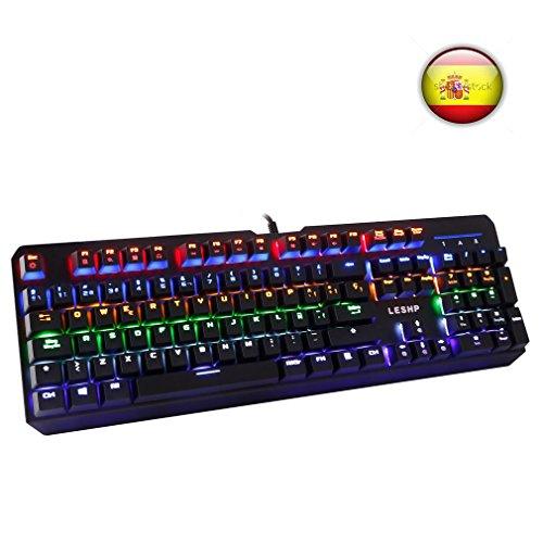 LESHP Teclado Mecánico Gaming con Disposición Española (retroiluminación LED de 6 colores,...