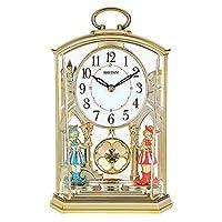 トーンマンテル時計、クリスタルマンテル時計、回転振り子付きスタイリッシュなリズムマンテル時計ゴールドギルト、クォーツサイレントデスクテーブルシェルフクロック、22.8× 148.3CM、A