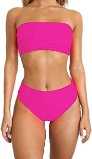 Women Strapless Ribbed High Cut Lace Up Two Piece Bandeau Bikini Set