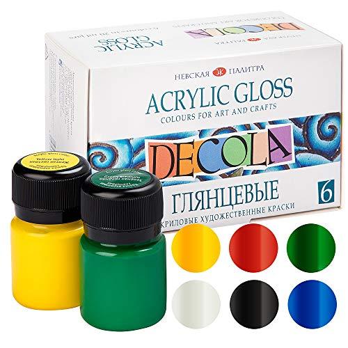 Decola Acrylfarben Glänzend | 6x20ml Acrylfarben Flaschen | Malen Und Gestalten Auf Jeder Oberfläche | Hergestellt In Russland Von Neva Palette