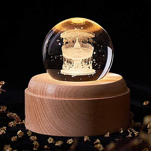 SBVDJ 3D Crystal Ball Music Box Leuchtende Rotierende Musical Box Mit Projektion LED-Licht Neues Jahr Geschenk Für Kind,Wooden Horse