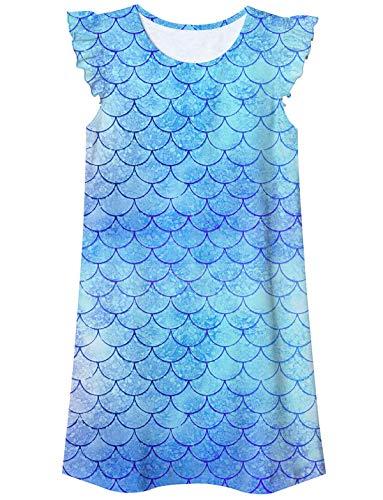 uideazone camisón para niñas camisón camisón pijamas de manga aleteo camisón camisón pijama vestido de 5 a 12 años, Azul, 9-10 Años