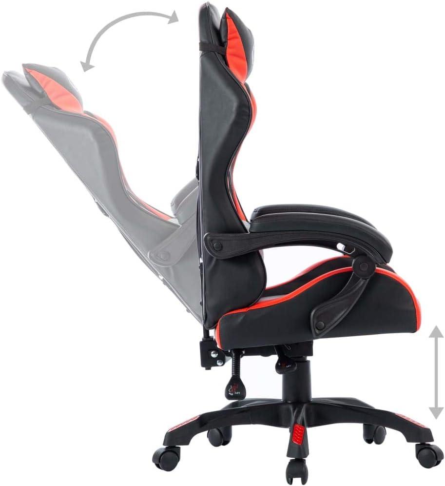 vidaXL Gaming Stuhl H/öhenverstellbar mit Kopfkissen Taillenkissen B/ürostuhl Schreibtischstuhl Drehstuhl Racing Sportsitz Chefsessel Blau Kunstleder