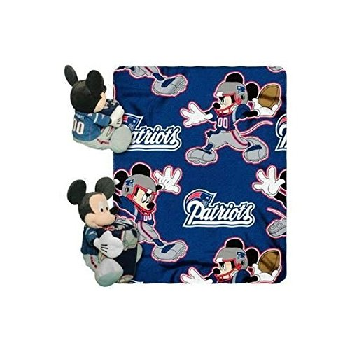 "New England Patriots Mickey Mouse Throw And Hugger Plush 40"" X 50"""