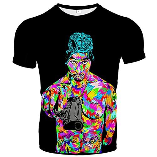 Camiseta 3D, cuello redondo con estampado de verano, manga corta, casual, unisex, elementos únicos, coloridos y bonitos diseños (XXS-6XL), C, Large-X-Large