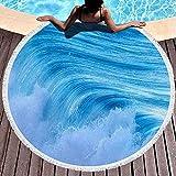 Toallas de Playa de Gran tamaño, Toalla de Playa Redonda Manta Toallas de Playa para niños con borlas Hermosa Ola Azul del océano en la Costa de España Brava Fun Toalla de Playa Adecuada para Piscina