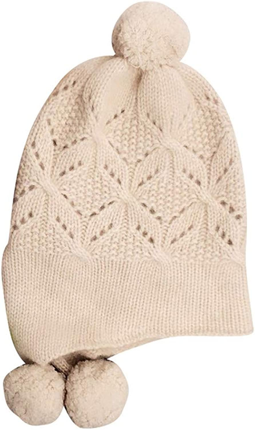 Balaclavas Hat Female Cashmere hat Autumn Winter hat Warm Openwork hat Women's Knitted Headgear Solid color Warm hat (color   Beige, Size   30  25cm)