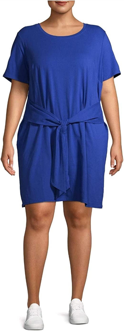 Terra & Sky Blue Glass Plus Size Tie Waist T-Shirt Dress
