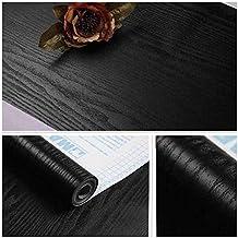 TJLMCORP- Papel pintado de vinilo con textura de grano negro mate de madera blanca de contacto, papel pintado autoadhesivo, para estante, cajón o cajón, negro, 23.6
