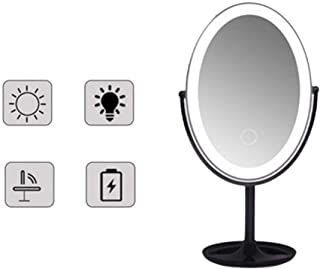 Makeup Mirror Makeup Mirror LED Fill Light Microscopy Desktop Oval Detachable Easy to Carry Modern Design, 3 Colors, 305x162x208mm (Color : Black, Size : A)