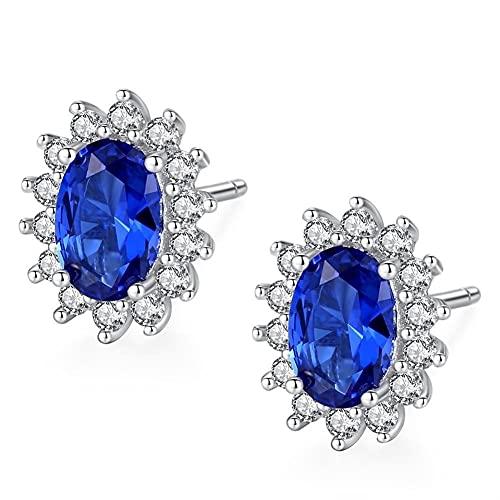 DALIANMAO Pendientes para Mujeres Estilo Vintage Royal Azul Simulado Sapphire Oval Halo Crown 925 Regalos de joyería de Plata esterlina (Gem Color : Blue)