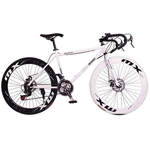 WGFGXQ 26-Zoll-Rennrad-Mountainbike, 24-Gang-Kurvenrad mit Scheibenbremsen, Rennrad mit hohem Kohlenstoffstahlrahmen für Frauen, Männer, Erwachsene