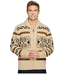 """From the Pendleton archives, faithful recreation of a zip front sweater from 1972 worn by the dude in """"the big lebowski."""" Ring zipper pull Rolled collar Commemorative key chain attached Weave type: Knit"""