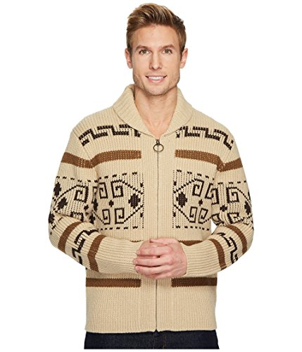 Pendleton Men's The Original Westerley Zip Up Cardigan Sweater, Tan/Brown, Small