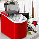 JISHIYU Fabricante Totalmente automático pequeño Cubo de Hielo, Hielo 15kg / Manual de Escritorio 24h, Bar cafetería refrigerador pequeño Cubo Que Hace la máquina (Color : Red)