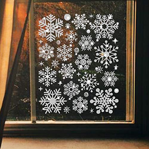 clacce Schneeflocken Fensterbild Abnehmbare Fensterdeko Statisch Haftende PVC Aufkleber Winter Dekoration