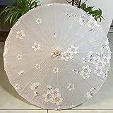 Cfanbp Dia 8 4 cm Fondo Gris Hecho a Mano Sakura Flores Papel engrasado Paraguas Bambú Afilar Parasol apoyos Umbrellawedding Sun Parasol Dance Paraguas