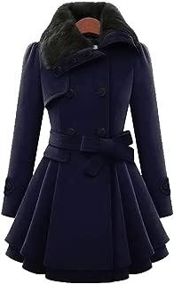 E-Scenery Women Coat, Windbreaker Warm Outwear Asymmetrical Hem Cloak Double-Breasted Thick Mid-Length Wool Overcoat