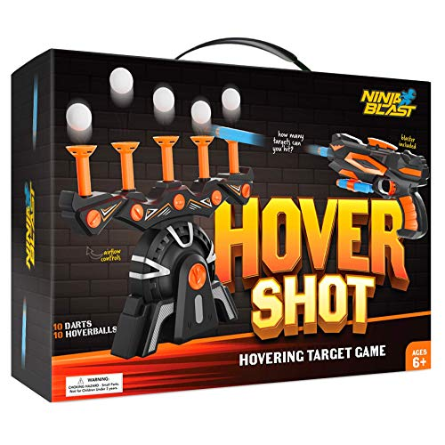 HoverShot Ball Shooting Target Toy for Kids – Game for Nerf Gun Indoor Practice – Includes Gun, Targets & Darts - Cool Birthday Gifts Toys For Boys Age 5+ Years Old - Powered By Plug or Batteries
