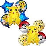 Cumpleaños Pokemon, 10 Piezas Globo Pokémon Helium Foil Balloons Pokemon Pikachu Globos de Fiesta Aluminio Globo Suministros de Fiesta