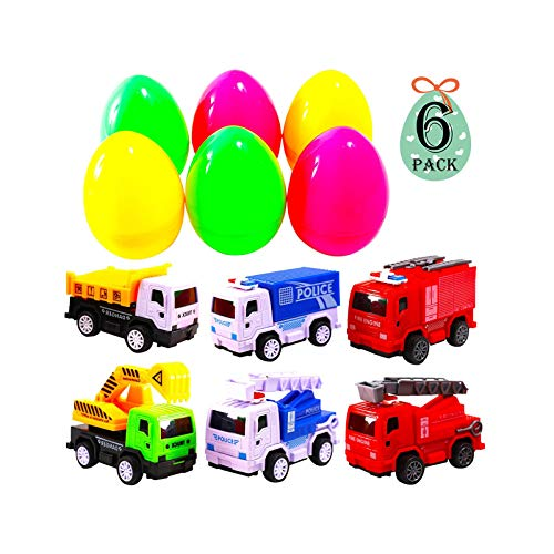 AuLinx 6 Pack Pull Back Fire Fighter Construction and Police Toy Cars Prefilled in 6 inch Jumbo 4.75 In Easter Eggs…