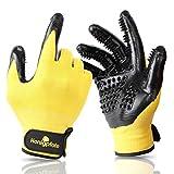Honigpfote Fellpflegehandschuh Paar zur Tierhaar Entfernung - Fellwechsel Handschuhe für Hunde-, Katzen- und Pferde (gelb)