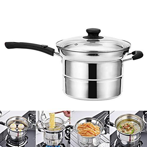 MElnN - Padella per patatine fritte, in acciaio inox, con cestello per friggitrice, coperchio e rete filtrante per friggere/stufare/brasare a vapore-Pentola multiuso.(Argento).
