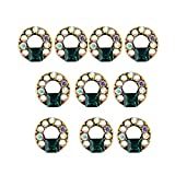 Pandiki 10pcs / Set l Clavo l Brillo Cristal 3D Etiqueta engomada l Arte Lentejuelas Metal Estilo Retro Oval Redonda Corazón uñas coración la joyería Muchachas Las Mujeres
