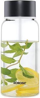 Borosil Plain Borosilicate Glass Water Bottle, 500ml, Wide Mouth - for Fridge and Office