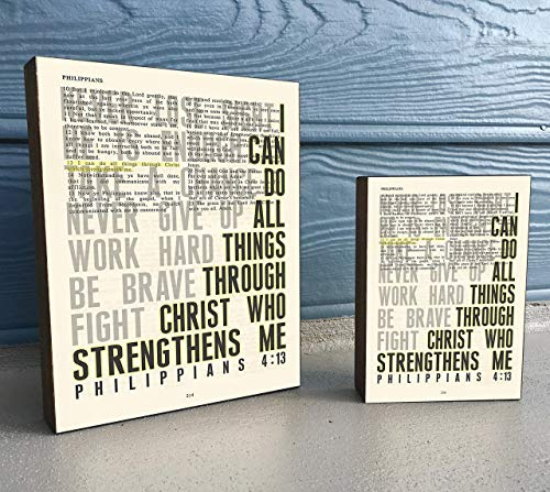 Vintage Bible verse Scripture Art Print on Wooden Block - Philippians 4:13 - I can do All things through Christ -Christian Home & Wall Decor Sign, Old House Dictionary Page, Christmas gift