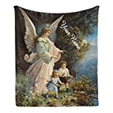 CUXWEOT Custom Blanket with Name Text,Personalized Vintage Easter Angel Super Soft Fleece Throw Blanket for Couch Sofa Bed (50 X 60 inches)