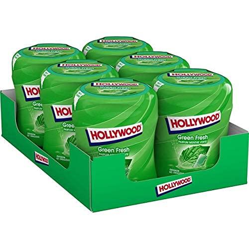 Hollywood Chewing Gum Green Fresh - Parfum Menthe Verte - Sans Sucres avec Édulcorants - Lot de 6 boîtes de 60 dragées (87 g)