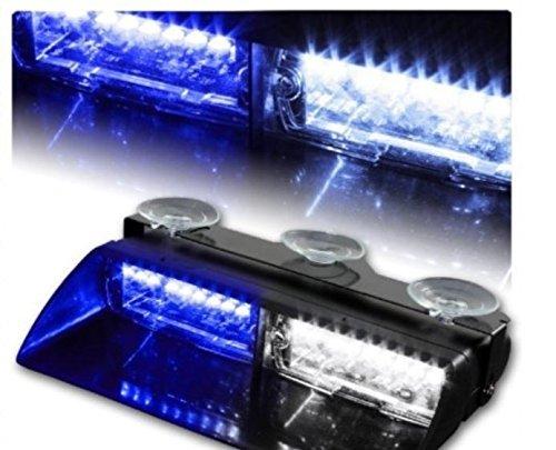ZHOL 16-led 18 Flashing Mode Car Emergency Vehicle Dash Warning Strobe Flash Light Blue (White)