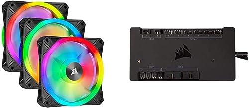 Corsair iCUE QL120 RGB 120mm PWM Triple Fan with Lighting Node CORE Bundle with Corsair iCUE Commander PRO Smart RGB Light...