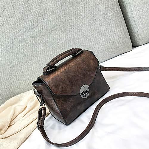 YUDIZWS Womens PU Handbag, New Women's Bag Fashion Lock Shoulder Simple Small Square Retro Messenger Bag Daily Travel,Brown
