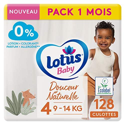LOTUS BABY Douceur Naturelle - Culottes Taille 4 (9-14 kg) Pack 1 mois - 128 culottes