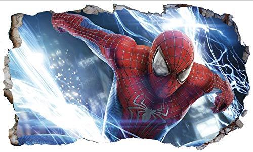 Chicbanners Spiderman Wall Crack V872 3D Wall Smash Magic Window Wall Sticker Selbstklebendes Poster Wall Art Größe 1000 mm breit x 600 mm tief (groß)