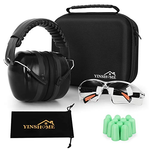 YINSHOME Shooting Ear-Protection Earmuffs,Gun Safety Glasses, Earplugs, Protective Case…