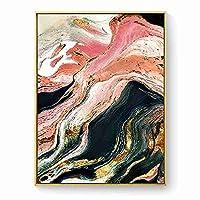 現代の壁アートゴールデンキャンバス絵画抽象的な川のインク金箔アートポスター印刷壁の写真リビングルームのポーチの装飾60X80cmフレームなし