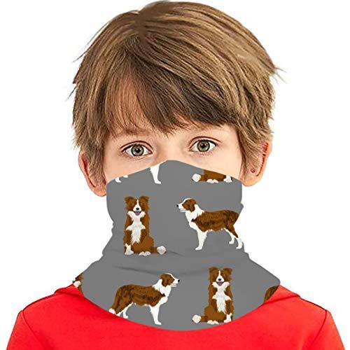 PGTry - Pañuelo multiusos para niños y niñas, protección UV, protector para la cara, cuello, pasamontañas para verano, ciclismo, senderismo, deportes al aire libre, Border Collie, abrigo rojo para perro, color gris
