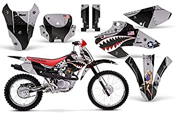 AMR Racing MX Dirt Bike Graphics kit Sticker Decal Compatible with Honda XR80 XR100 2001-2003 - P-40 Warhawk Black Silver