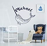 Wall Sticker Narwhal Whale Wall Decal Boys Name Wall Sticker Sea Animals Vinyl Stickers Narwhal Wall Art Boys Name Nautical Bedroom Decor